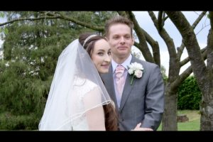 Film still from the wedding video at Lymm Golf Club