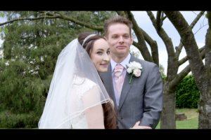 Film still from the wedding video at Lymm Golf Club