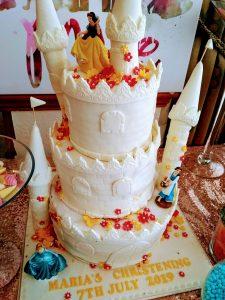 The Disney castle christening cake